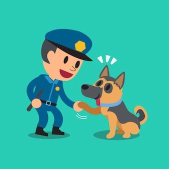Policial de guarda de segurança dos desenhos animados com cão de guarda da polícia