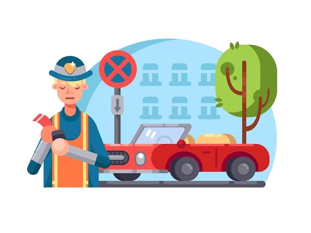 Policial de patrulha escreve bem por estacionamento errado. ilustração em vetor plana
