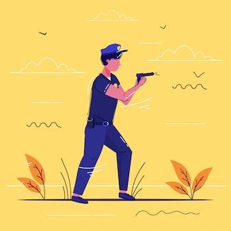 Policial de pé com pistola policial de uniforme, segurando a arma segurança autoridade justiça baixo serviço conceito esboço comprimento total
