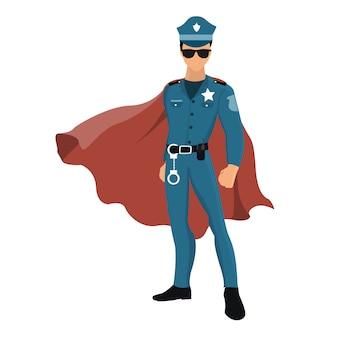 Policial de super-herói dos desenhos animados com capa vermelha.