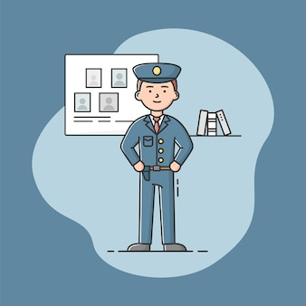 Policial de uniforme. formulário azul. policial confiante. homem autoconfiante em um uniforme azul. estilo simples de contorno linear dos desenhos animados.