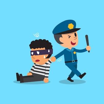 Policial e ladrão de desenho animado