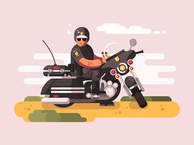Policial em motocicleta