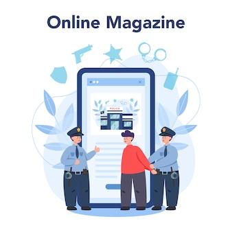Policial em serviço ou plataforma online uniforme