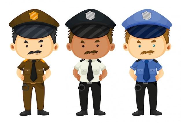 Policial em três uniformes diferentes