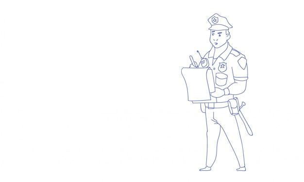Policial escrevendo relatório usando uniforme policial guarda esboço doodle horizontal