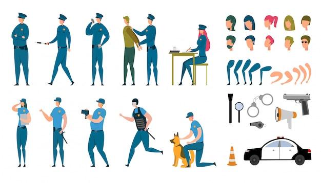 Policial estilizado caracteres animados conjunto plano