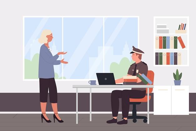 Policial falando com visitante no gabinete da delegacia