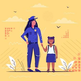 Policial feminino, segurando a mão pequena garota afro-americana menina de uniforme com colegial de pé junto segurança autoridade justiça lei serviço conceito esboço comprimento total