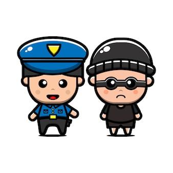 Policial fofo e personagem ladrão