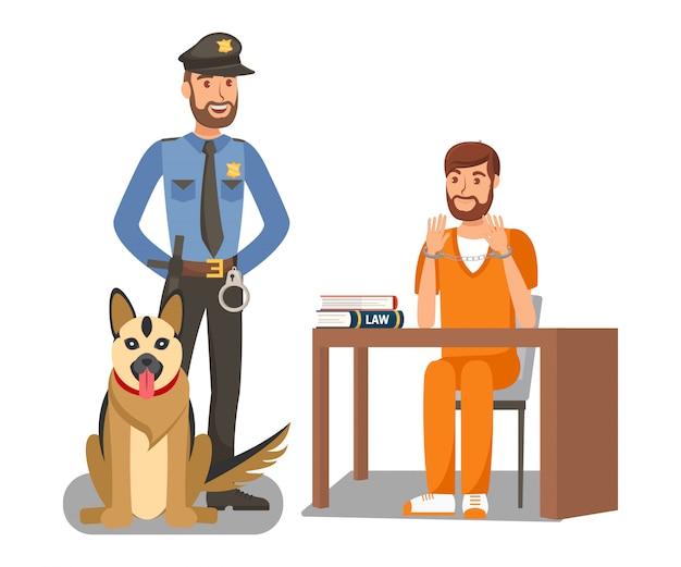 Policial guardando criminoso