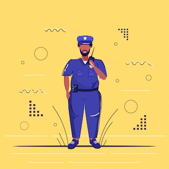 Policial masculino usando walkie-talkie policial americano africano de uniforme falando no rádio segurança autoridade justiça lei serviço conceito esboço comprimento total