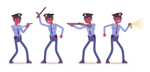 Policial no banner de ataque e defesa