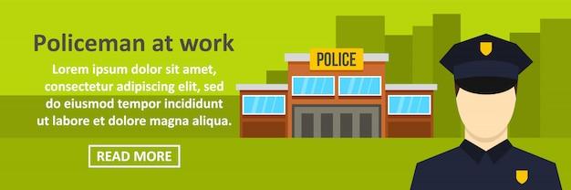 Policial no conceito horizontal de modelo de banner de trabalho
