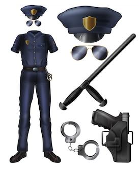 Policial ou serviço de segurança guarda uniforme, arma, acessórios conjunto de desenhos animados.