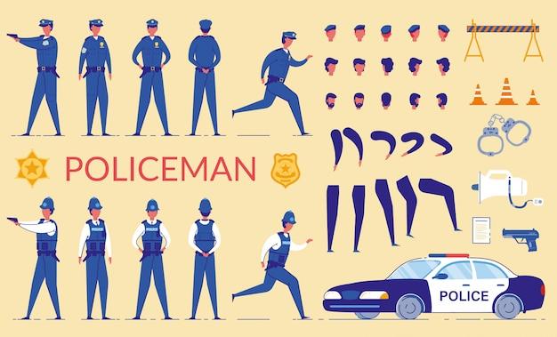 Policial personagem construtor, espingarda, carro.