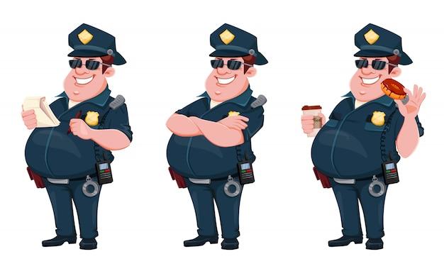 Policial. personagem de desenho animado
