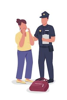 Policial recebe depoimento de personagens vetoriais de cores semi-planas da vítima pessoas de corpo inteiro em branco