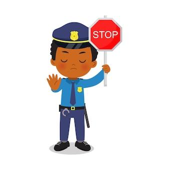 Policial rigoroso com gesto e sinal de pare com a mão