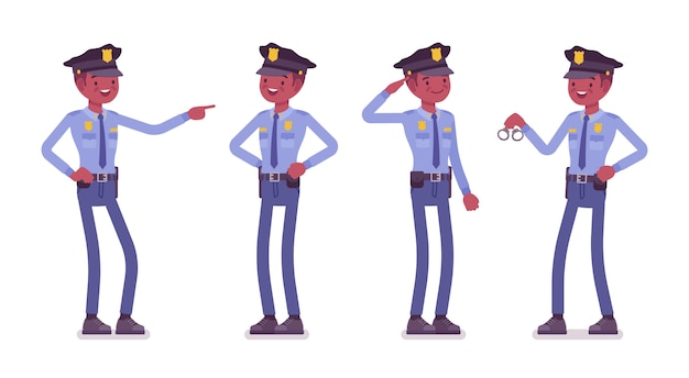 Policial satisfeito e recompensado com o trabalho