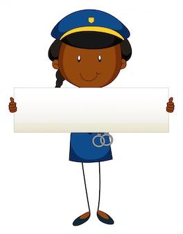 Policial, segurando, em branco, sinal
