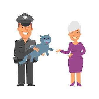 Policial segurando um gato e sorrindo mulher idosa se levanta e sorri personagens de vetor