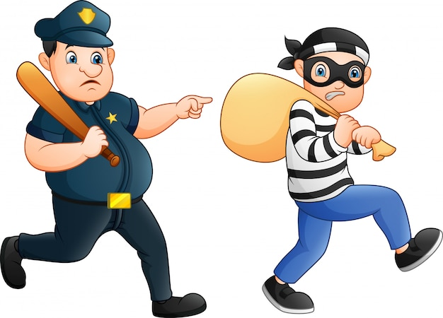 Policial tenta perseguir um ladrão