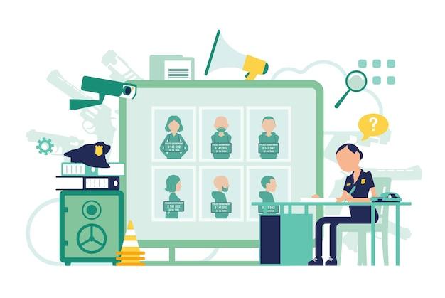 Policial trabalhando em uma delegacia de polícia. policial sentada no local de trabalho, símbolos profissionais, design de ferramentas, cartaz de procurado com criminosos. ilustração em vetor abstrata, personagens sem rosto