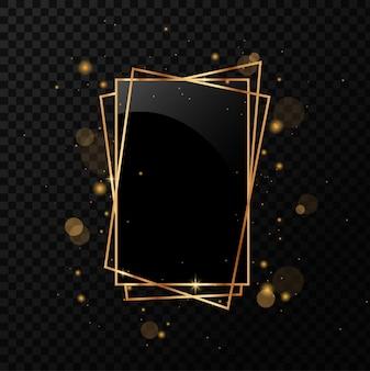 Poliedro geométrico dourado com espelho preto. isolado em fundo preto transparente.