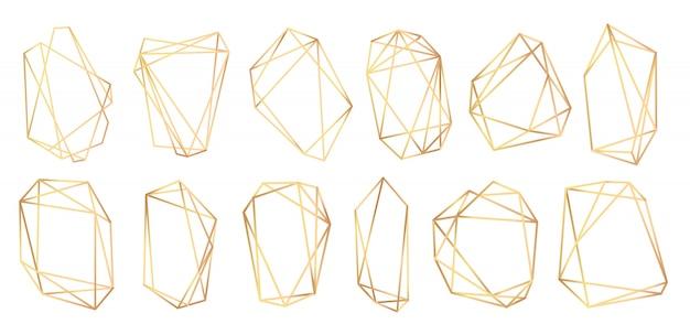 Poliedros de quadros geométricos. molduras douradas abstratas.