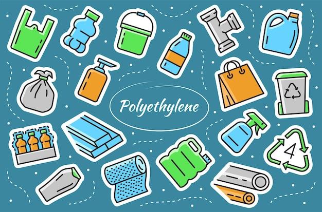 Polietileno de baixa densidade - conjunto de elementos adesivos. produtos de pebd - embalagem de alimentos, garrafa plástica, balde, saco de lixo. ilustrações vetoriais.