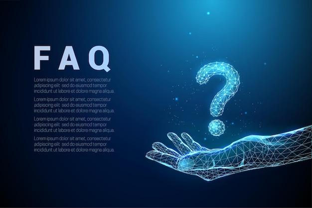 Poligonal azul abstrato dando mão com ponto de interrogação estilo low poly