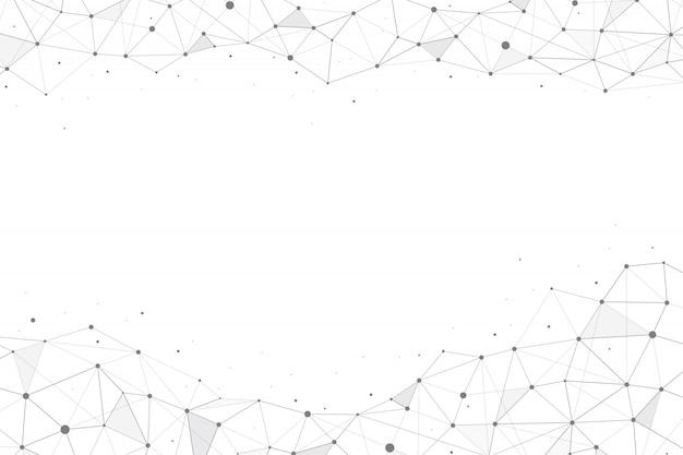 Poligonal geométrica abstrata com pontos e linhas de conexão no fundo branco. vetor il