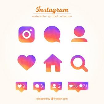 Poligonal ícones coloridos pacote de redes sociais