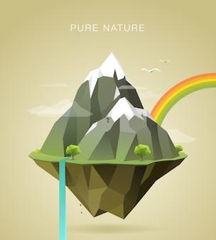 Poligonal, ilustração, de, montanhas, ligado, ilha