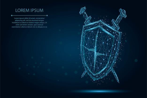 Polígono abstrato baixo poli escudo e espadas. proteja e proteja o wireframe digital