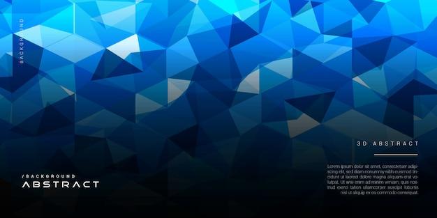 Polígono abstrato geométrico escuro sobre fundo azul