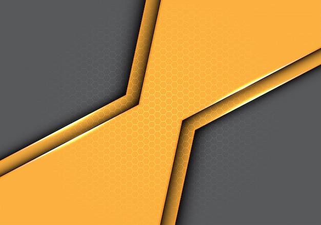 Polígono amarelo metálico com fundo do cinza do teste padrão da malha do hexágono.