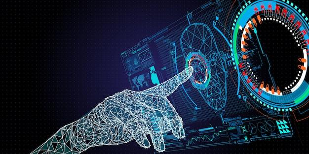 Polígono baixo mão tocando na interface do usuário para desbloqueio com identificação de rosto. conceito de reconhecimento facial.