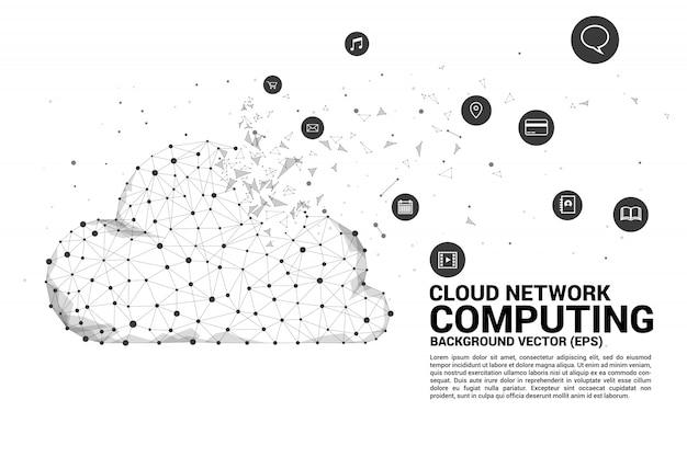 Polígono de tecnologia de rede de computação em nuvem