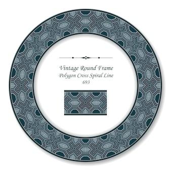 Polígono do quadro retro redondo vintage cruzado linha espiral, estilo antigo