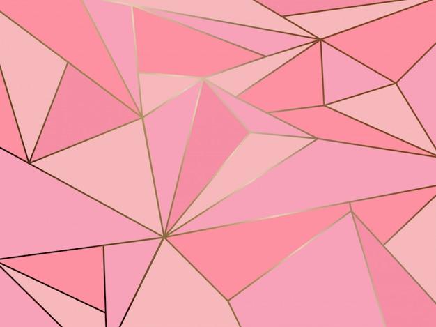 Polígono rosa geométrica com linha de ouro