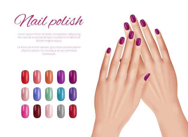 Polir as cores das unhas. mulher com as mãos unhas modelo de demonstração paleta de cosméticos lindo conjunto realista, demonstração de unha, modelo de moda realista