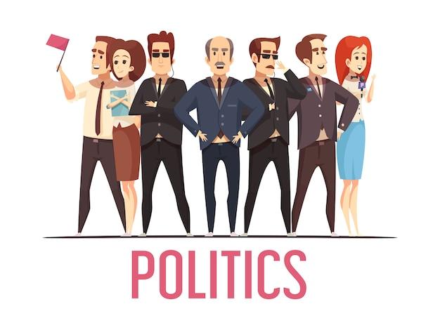 Política eleição pessoas cartoon cena