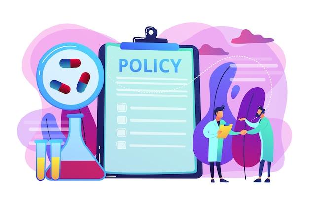 Política farmacêutica na prancheta e pesquisadores, gente minúscula. política farmacêutica, lobby farmacêutico, conceito de controle de produção de drogas. ilustração isolada violeta vibrante brilhante