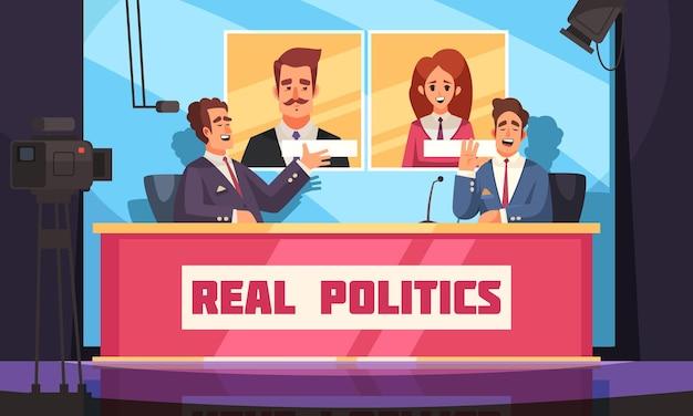 Política real com entrevista ao vivo com um político por jornalista e eleitores