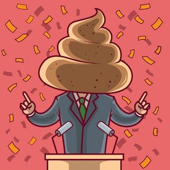 Político com uma cabeça de cocô. política, dinheiro, negócios, finanças, ilegal, conceito de design de suborno