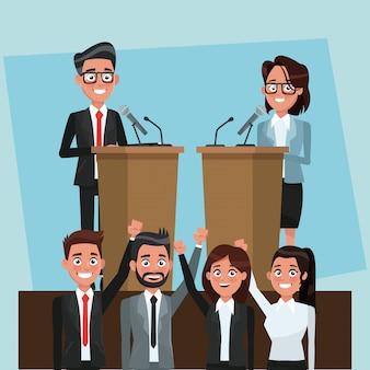 Político debatendo caricaturas