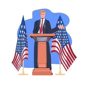 Político dos estados unidos fazendo discurso da tribuna com a bandeira dos eua, celebração do dia da independência americana 4 de julho.