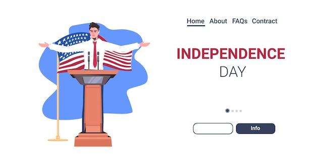 Político dos estados unidos fazendo discurso na tribuna com a bandeira dos eua, página inicial de celebração do dia da independência americana em 4 de julho Vetor Premium